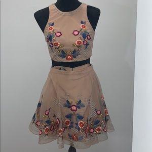 BEBE: floral crop top and skirt set